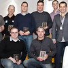 Motor sport winners: standing (l-r): Russell Garner (Modified Class), Peter Phillips (Clubman), Robert Hart (Standard NC), Noel Heritage (Standard NA), Stephen Downes (Standard NB) with Presenters Daniel White and CAMS CEO Eugene Arocca; in front (l-r): Paul Murphy (Restricted Open), Mark Fitzgerald (Open)