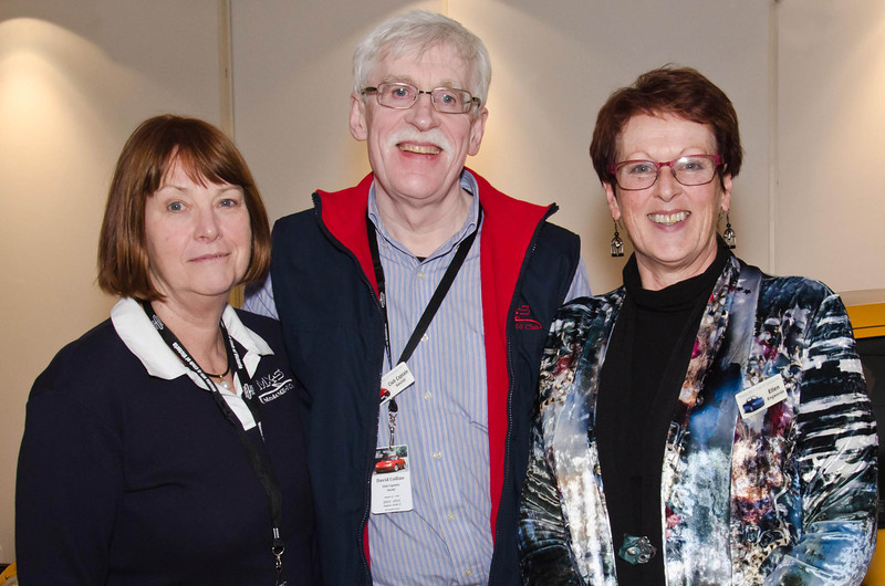 L-R: Gail & Dave Collins, 2012-2013 Teams Champions, with Ellen Engwerda, 2012-2013 New Member Champion