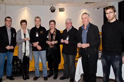 Five-year membership pin recipients (l-r): Peter Dannock, Linda & Don Nicoll, Noellene & John Gleeson, Max Lloyd and Ben Sale