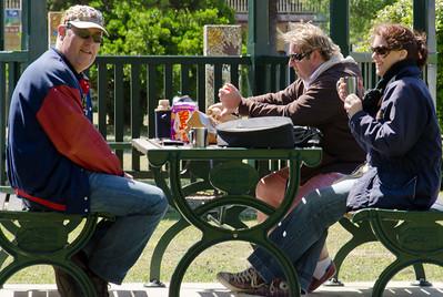 Murray, Cary and Alyssa enjoy morning tea at Lancefield