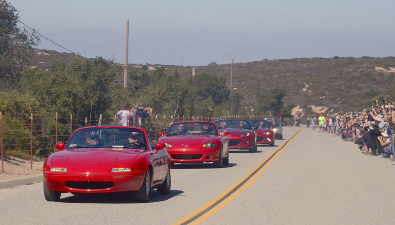 What a procession ... the NA leads the MX-5 family at Laguna Seca