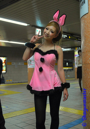 """Someone dressed up as a """"pink cocktail bunny"""" that was riding the same train as me!"""