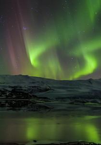 Auroa Borealis over Fjallsárlón