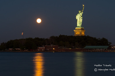Super Moon over Liberty Island - Nancylee Mudd