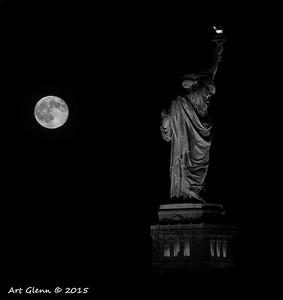 Black and White Liberty Super Moon - Art Glenn