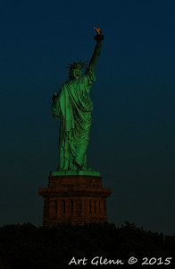 Sunset on Statue of Liberty - Art Glenn