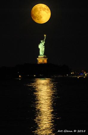 Super Moon over Statue of Liberty - Art Glenn
