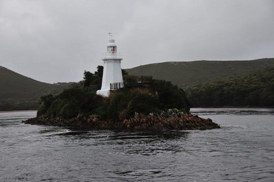 Lighthouse at the mouth of the Gordon River, TAS