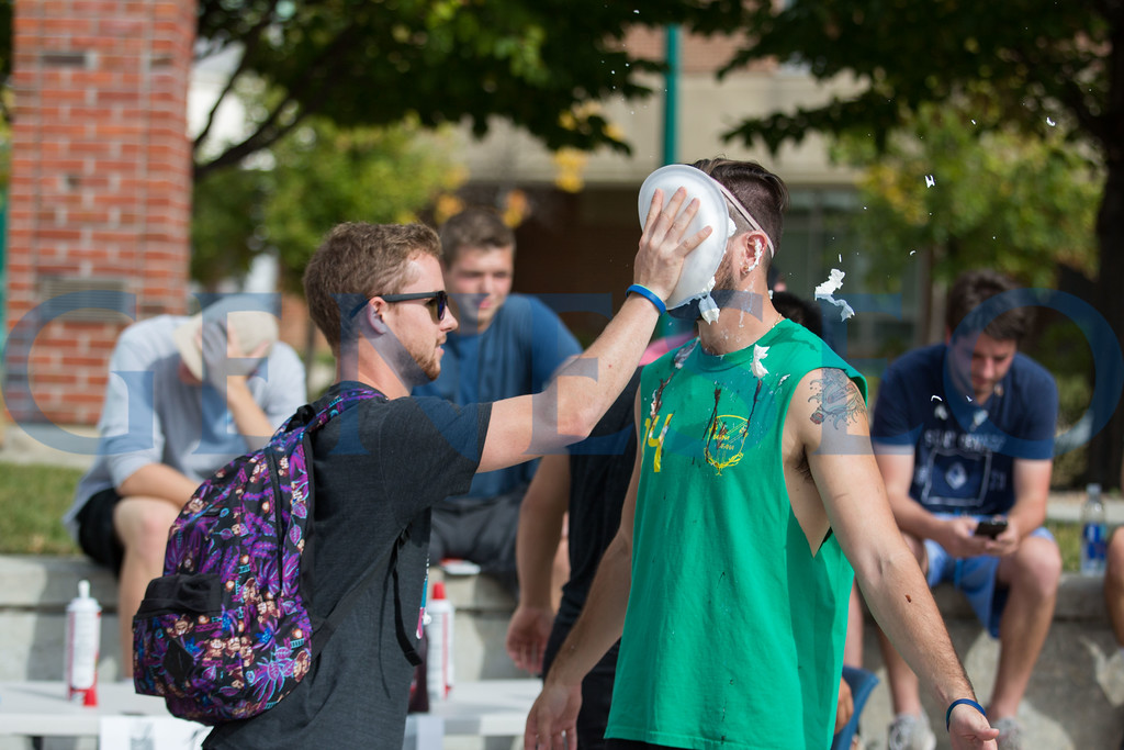 Fall 2017 Pie a member of greek life for hurricane relief