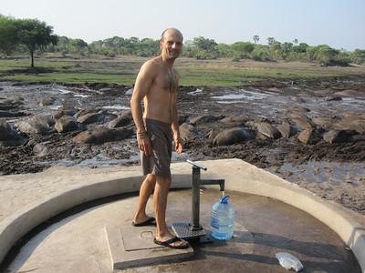 Pumping water at Ikuu Camp