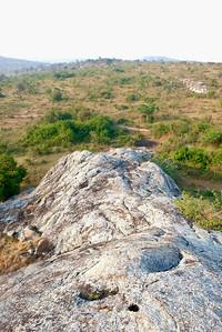Climbing a big rock hill
