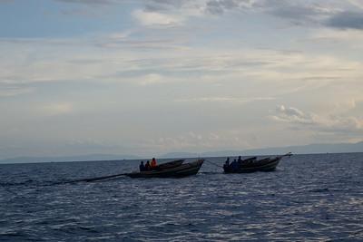 Fishermen off for night shift....