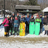 The group gets ready at Pinkham Notch. <br /> In this photo from left to right:<br /> Farzeen Mahmud '12<br /> Melinda Tascarella '14<br /> Eric Waskowicz '14<br /> Paige Wilson '14<br /> Max Deibel '14<br /> Jennifer McDonald '11<br /> Anna Wearn '12<br /> Eric Ross '11<br /> ???<br /> Julia Schnieder '12<br /> Dan Muldrew <br /> Kevin Miller '10