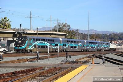 Metrolink Cab Car 678 arrives into Los Angeles Union  02/02/15