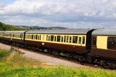 59513 - Class 117 Trailer Composite Lavatory passes Waterside Caravan Park on the Paignton & Dartmouth Steam Railway 30/07/12