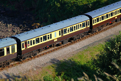 59517 - Class 117 Trailer Composite Lavatory passes Waterside Caravan Park on the Paignton & Dartmouth Steam Railway 01/09/12