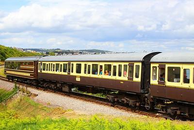 59503 - Class 117 Trailer Composite Lavatory passes Waterside Caravan Park on the Paignton & Dartmouth Steam Railway 30/07/12