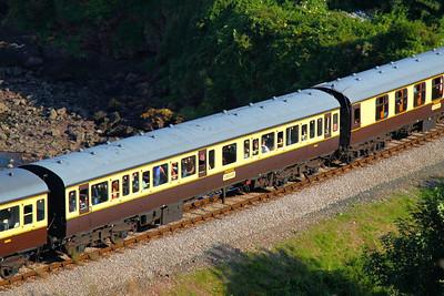 59594 - Class 117 Trailer Composite Lavatory passes Waterside Caravan Park on the Paignton & Dartmouth Steam Railway 01/09/12