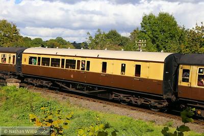 5883 - Collett Brake Third Corridor built in 1934 departs Highley on the Severn Valley Railway  04/10/14