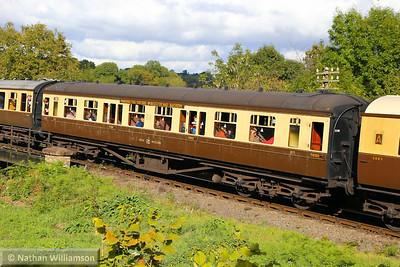 829 - Hawksworth Corridor Third built in 1948 departs Highley on the Severn Valley Railway  04/10/14