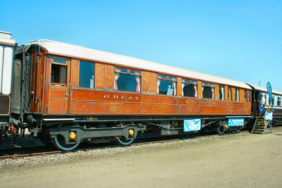 807 (TOPS No 99881) GNER First Class Saloon originally built in 1912, on display in Eastleigh Works 24/05/09