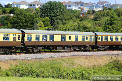 """Mk1 RBR 1671 passes Broadsands on the: 1Z27 09:15 Bristol Temple Meads to Kingswear """"The Torbay Express"""" 03/08/14  1671 is operated by Riviera Trains"""