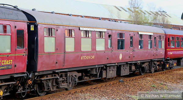 """Mk1 RBR 1666 arrives into Newton Abbot on the: 1Z33 16:30 Kingswear to Woking """"The Cathedrals Express""""  10/04/14"""