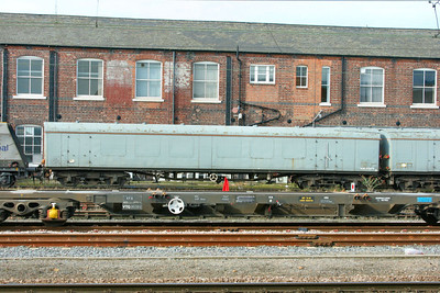 975978 - EMU Barrier Vehicle in Doncaster Works Yard. 975978 was converted from Mk1 RUO 1025. 11/03/09