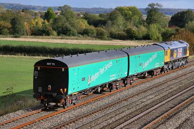 """975974 - EMU Barrier Coach named """"Paschar"""" heads east through Cholsey on the: 5O08 10:00 Donnington to Eastleigh Yard 19/10/11"""