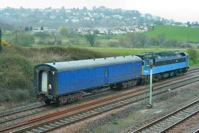 6348 - FGW HST Barrier heads north past Aller Junction, near Newton Abbot. 6348 was converted from Mk1 BG 81233 / 92963. 06/04/09