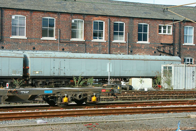 975974 - EMU Barrier Vehicle in Doncaster Works Yard. 975974 was converted from Mk1 RUO 1030. 11/03/09