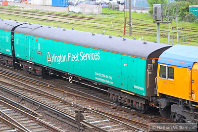 """975978 - EMU Barrier Coach named """"Perpetiel"""" arrives into Eastleigh on the: 5O65 10:23 Peterborough Shed to Eastleigh Works  21/05/13"""