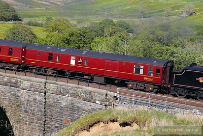 """Mk1 NNX 80217 crosses Ais Gill Viaduct in the consist of: 1T53 15:12 Carlisle to Lancaster """"The Fellsman""""   10/06/15"""