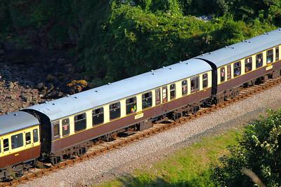 Mk1 BSO 9275 passes Waterside Caravan Park on the Paignton & Dartmouth Steam Railway 01/09/12