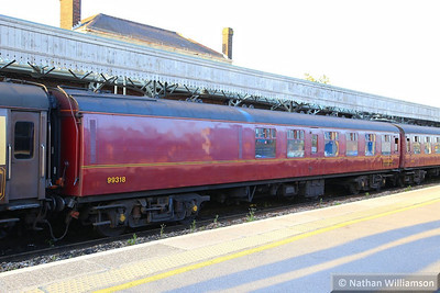 """99318 calls at Taunton on the: 1Z33 16:45 Kingswear to Guildford """"The Dartmouth Express"""" 19/04/14  99318 was converted from TSO 4912 and fitted with a small buffet counter making it an RMB vehicle now"""
