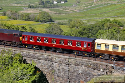 "Mk1 FK 13320 crosses Ais Gill Viaduct in the consist of: 1T53 15:12 Carlisle to Lancaster ""The Fellsman"" 10/06/15  This coach has been rebuilt as a FO for WCRC but still retains its FK coaching stock number"