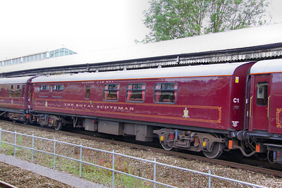 """317 """"Raven"""" - Mk1 Pullman Kitchen First was converted into a Royal Scotsman Dining Coach in 1993 and renumbered 99967. The coach still retains a kitchen area.  99967 departs Bath on the: 5Z28 09:30 Bath to Westbury 10/07/12"""