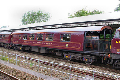 """319 """"Snipe"""" - Mk1 Pullman Kitchen First was converted into the Royal Scotsman Observation Car, with a lounge type interior and an open verandah at one end.  99965 departs Swindon on the: 1Z29 14:59 Bath to Oxford 10/07/12"""