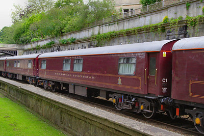 """331 """"Topaz"""" - Mk1 Pullman Parlour First"""" was rebuild in 1990 as a Royal Scotsman Saloon and renumbered to 99963 """"State Car 3"""". The coach now consists of 4 twin sleeping rooms.  99963 heads through Sidney Gardens in Bath on the: 5Z29 13:05 Westbury to Bath via Bath Goods Loop 10/07/12"""