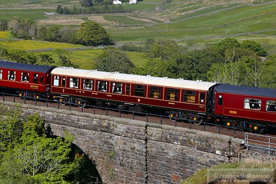 """Mk1 Saloon 99993 """"LMS Club Car"""" crosses Ais Gill Viaduct in the consist of: 1T53 15:12 Carlisle to Lancaster """"The Fellsman""""  10/06/15  99993 was converted from Mk1 TSO 5067 and now contains a kitchen, a pantry and two dining saloons"""