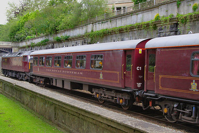 """319 """"Snipe"""" - Mk1 Pullman Kitchen First was converted into the Royal Scotsman Observation Car, with a lounge type interior and an open verandah at one end.  99965 heads through Sidney Gardens in Bath on the: 5Z29 13:05 Westbury to Bath via Bath Goods Loop 10/07/12"""
