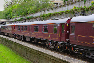 """317 """"Raven"""" - Mk1 Pullman Kitchen First was converted into a Royal Scotsman Dining Coach in 1993 and renumbered 99967. The coach still retains a kitchen area.  99967 heads through Sidney Gardens in Bath on the: 5Z29 13:05 Westbury to Bath via Bath Goods Loop 10/07/12"""