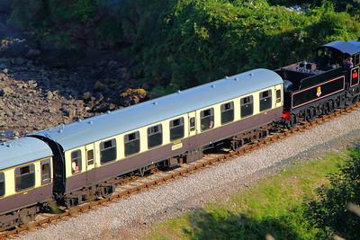"Mk1 TSO 4081 ""Sophie"" passes Waterside Caravan Park on the Paignton & Dartmouth Steam Railway 01/09/12"
