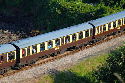 "Mk1 TSO 4223 ""Rebecca"" passes Waterside Caravan Park on the Paignton & Dartmouth Steam Railway 01/09/12"