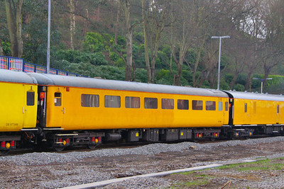 977868 - Radio Survey Coach (RSC1) arrives into Exeter Central 02/03/12  977868 was converted from Mk2e TSO 5846