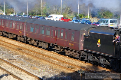 Mk2a BFK 35517 heads west through Totnes 20/04/13   35517 is the mainline support coach for steam loco 45407 & 76079