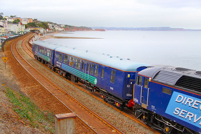 Mk2a BSO 9419 heads south along the Dawlish Sea Wall along Marine Parade, carrying DRS 'Compass' livery 18/10/10