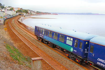 Mk2a BSO 9428 heads south along the Dawlish Sea Wall along Marine Parade, carrying DRS 'Compass' livery 18/10/10