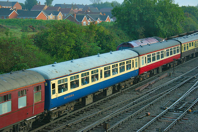 Mk2a TSO 5366 departs Westbury, in Riviera Trains Blue & Cream 13/09/08  5366 was repainted into Chocolate & Cream in 2011
