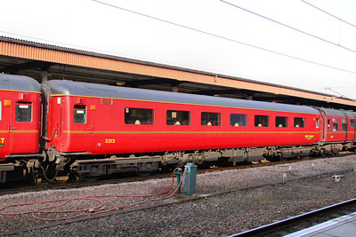 Mk2f FO 3313 wearing a fresh coat of WCRC Maroon stands in York 30/10/10  3313 aquired by WCRC after Fragonset Rail went bust and repainted out of its Blue Pullman livery